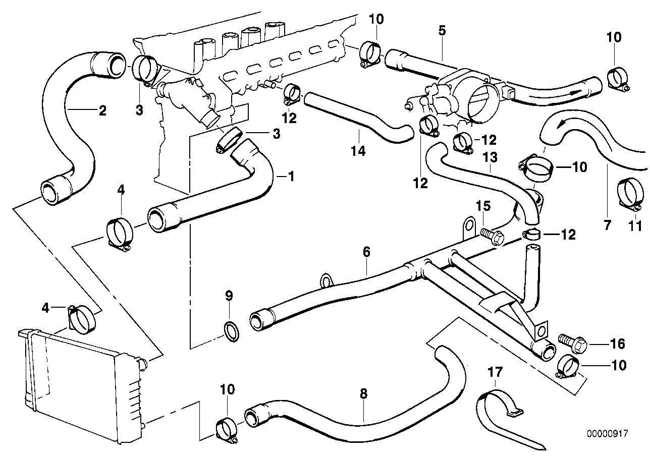 Схема системы охлаждения на бмв е34